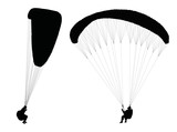 Vector silhouettes of flying paragliders