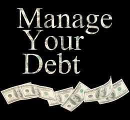 Manage your debt, isolated words with American notes