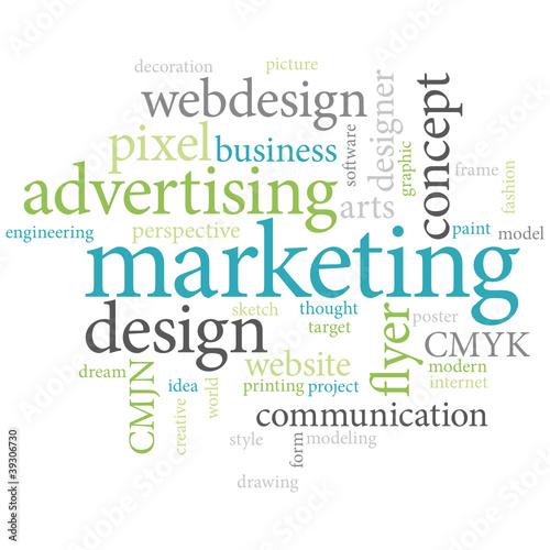 Marketing words cloud background.