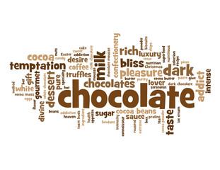 """CHOCOLATE"" Tag Cloud (dark cocoa dessert pleasure cake mousse)"