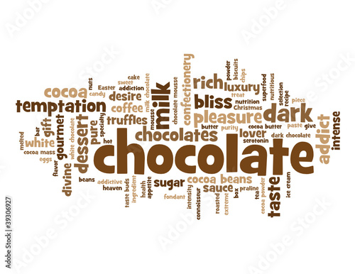 """CHOCOLATE"" Tag Cloud (dark cocoa dessert pleasure cake mousse)"
