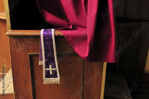 confessional, cross, nobody, priest, religion, stole - 39307549