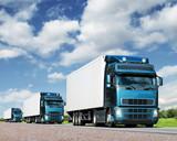 caravan of  trucks on highway, cargo transportation concept - Fine Art prints