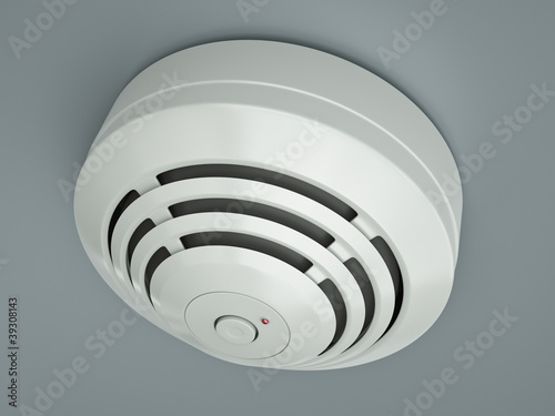 Smoke detector attached to the ceiling. 3D render