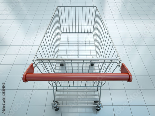 Empty shopping cart seen from shopper's perspective