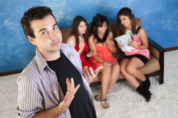 Arrogant Young Man With Girlfriends