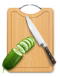 ripe cucumber cut segment on board with knife vector