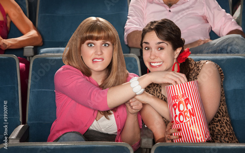 Anxious Women With Popcorn