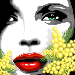 Viso Bella Donna e Mimosa-Woman Girl's Face and Mimosa