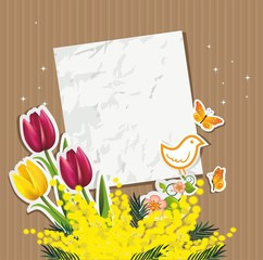Ticket mimosa tulips and bird