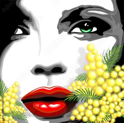 Viso Bella Donna e Mimosa-dziewczyna kobieta twarzy i Mimosa