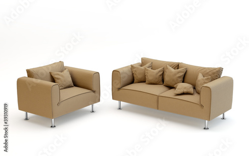 Modern couch and sofa isolated on white