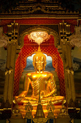 Golden Buddha in an ancient temple in Bangkok, Thailand