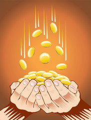 hands with gold coins