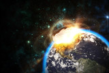 Fototapety Space scene of asteroid impact