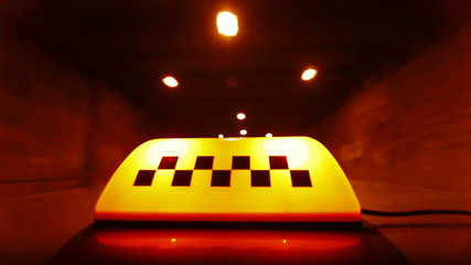 Taxi Speeding Through A Tunnel