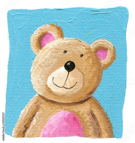 Cute teddy bear on the blue background