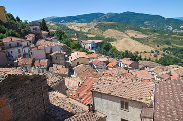 Panoramic view of Pietrapertosa. Basilicata. Italy.