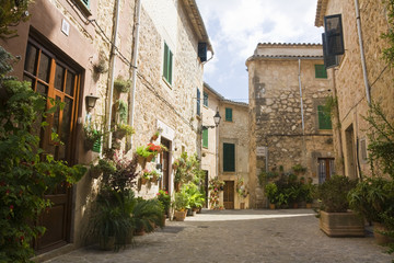 traditional Valldemosa Majorca village street, Spain