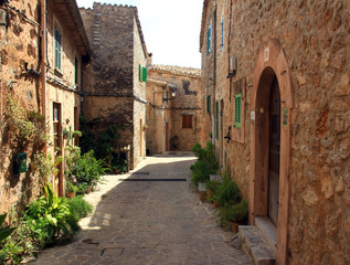 traditional Valldemosa Majorca village street, Spain