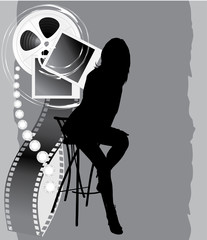 Female silhouette and film objects on the abstract background