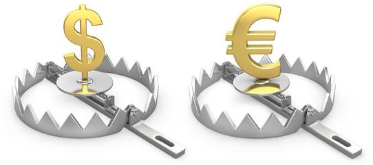Dollar and yen symbols in a bear trap