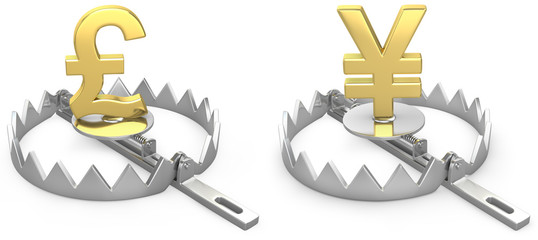 Pound and yen symbols in a bear trap