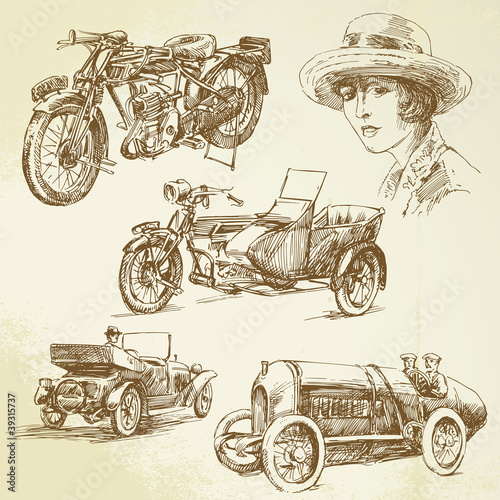 vintage vehicles - hand drawn set