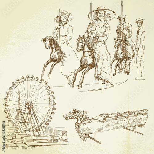 vintage merry go round - hand drawn set