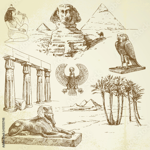 ancient egypt - hand drawn set