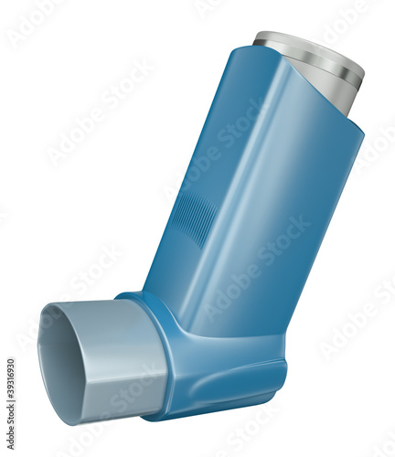 Blue medicine inhaler isolated on white background. 3D render.
