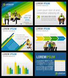 Fototapety Green, yellow and blue template with business people