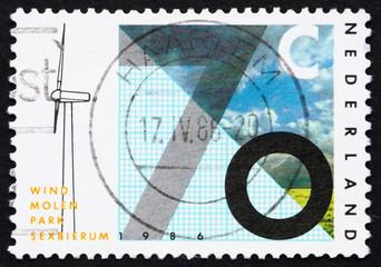 Postage stamp Netherlands 1986 Sexbierum Windmill Test Station