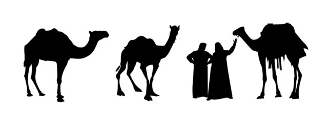 camel riders in black and white