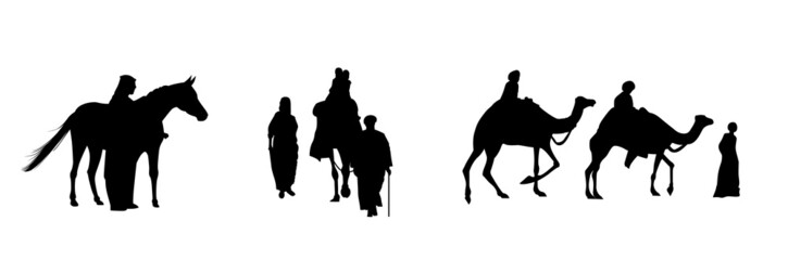 caravan of camels, horses and humans