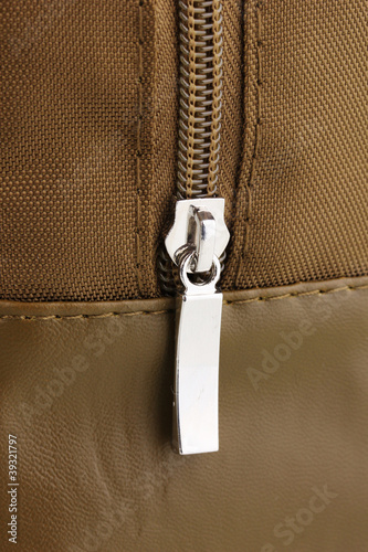Bag's zipper close up