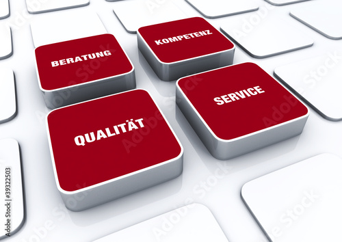 Quader Konzept Rot - Beratung Kompetenz Qualität Service 1