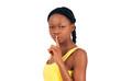 Finger on lips cute black girl