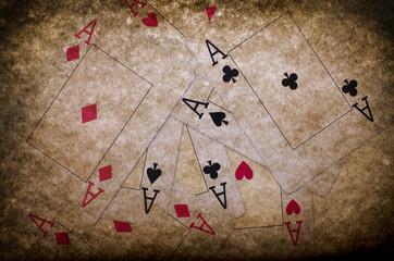 Ases, fondo, juego, suerte, poker