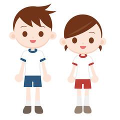 体操服の男の子女の子