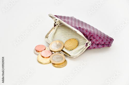Geldbörse mit Münzen Euro