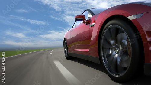 Red sport car moving on the road, loop-ready