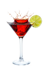 Cosmopolitan Cocktail with splash isolated on white
