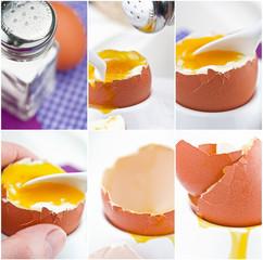 Weiches Frühstücksei mit Salz