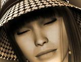 Dream Girl mit Hut  in Sepia