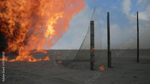 Fire between the fence in stables