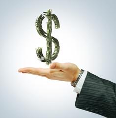 Dollar sign on the businessman's hand