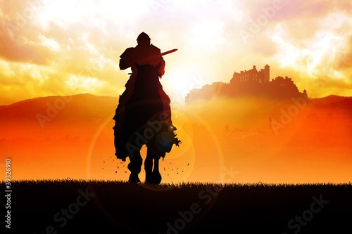 Silhouette illustration of a knight holding a lance