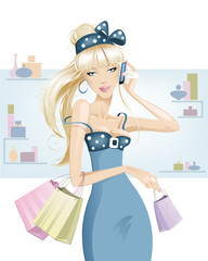 Blonde girl shopping