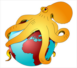 the world in the stranglehold of an octopus